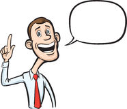 Cartoon skinny businessman with speech bubble pointing finger Stock Photography