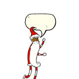 cartoon skinny santa with speech bubble Stock Images