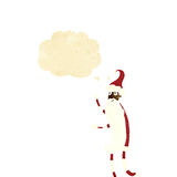 cartoon skinny santa with thought bubble Royalty Free Stock Photos