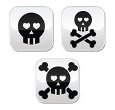 Cartoon skull with bones  buttons set Stock Photo
