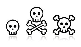 Cartoon skull with bones  icon set Stock Photos