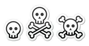Cartoon skull with bones  icon set Stock Image