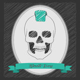 Cartoon skull boy with a mohawk. Oval frame with a ribbon . Graphite background Royalty Free Stock Photo