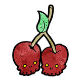 Cartoon skull cherries Royalty Free Stock Photo