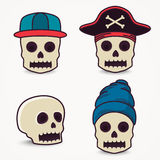 Cartoon skull collection in cap, pirate. Royalty Free Stock Image