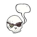 Cartoon skull with eye patch with speech bubble Stock Photo