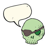Cartoon skull with eye patch with speech bubble Royalty Free Stock Photos