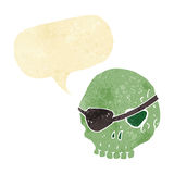 Cartoon skull with eye patch with speech bubble Stock Images