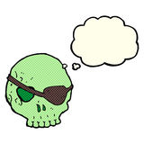 Cartoon skull with eye patch with thought bubble Royalty Free Stock Photos