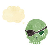 Cartoon skull with eye patch with thought bubble Royalty Free Stock Image