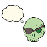 Cartoon skull with eye patch with thought bubble Royalty Free Stock Photography