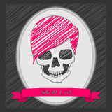 Cartoon skull girl. Pink hair. Oval frame with a ribbon . Graphite background Royalty Free Stock Photography