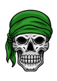 Cartoon skull in green bandana Stock Images