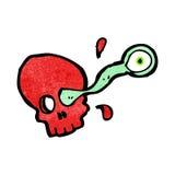 Cartoon skull with gross eyeball Royalty Free Stock Images