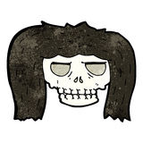 Cartoon skull with hair Stock Photos