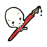 Cartoon skull holding ink pen in mouth Royalty Free Stock Photography