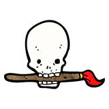 Cartoon skull holding paintbrush in mouth Stock Photos