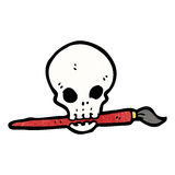 Cartoon skull holding paintbrush in mouth Royalty Free Stock Image