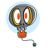 Cartoon skull light bulb Royalty Free Stock Images