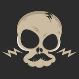 Cartoon skull with lightning bolts Stock Images