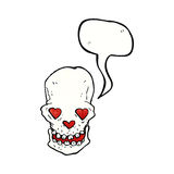 Cartoon skull with love heart eyes with speech bubble Royalty Free Stock Images