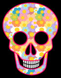 Cartoon skull patterned with cartoon colorful daisy flowers Stock Image