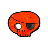 Cartoon skull with pirate eye patch Royalty Free Stock Images