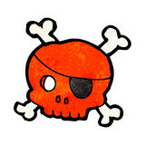 Cartoon skull with pirate eye patch Royalty Free Stock Photography