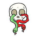 Cartoon skull with snakes Stock Photography