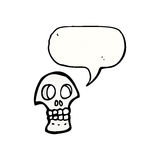Cartoon skull symbol with speech bubble Royalty Free Stock Images