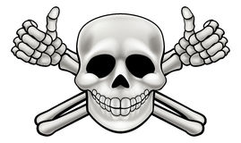 Cartoon Skull and Thumbs Up Crossbones. Cartoon Halloween pirate skull and crossbones skeleton thumbs up illustration Royalty Free Stock Photography