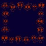 Cartoon skulls in blue and orange, halloween frame background, vector Stock Photos