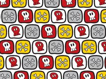 Cartoon skulls and bones pattern Royalty Free Stock Photography