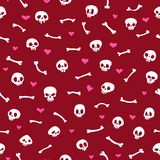 Cartoon Skulls with Hearts on Red Background Stock Photo