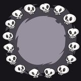 Cartoon Skulls Round Frame Stock Photo