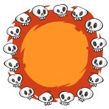 Cartoon Skulls Round Frame on White Background Royalty Free Stock Photos