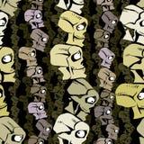 Cartoon skulls seamless pattern. Stock Photos