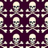 Cartoon skulls seamless vector pattern Royalty Free Stock Image