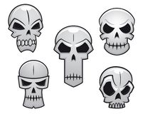 Cartoon skulls set with danger Stock Images