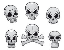 Cartoon skulls set Stock Images