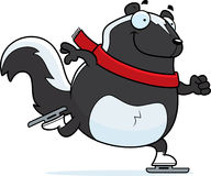 Cartoon Skunk Ice Skating Stock Photo