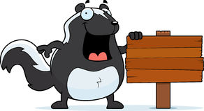 Cartoon Skunk Sign Royalty Free Stock Photos