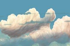 Cartoon sky / clouds / digital painting / illustration. Cloud in the sky, a beautiful sky Stock Photo