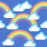 Cartoon sky with clouds and rainbows stock illustration