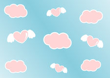 Cartoon sky with pink clouds and hearts with angel wings. Cartoon sky with pink clouds and pink hearts with angel wings royalty free illustration