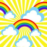 Cartoon sky with rainbows and clouds royalty free illustration