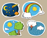Cartoon sky stickers Royalty Free Stock Photos