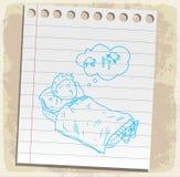Cartoon sleep on paper note, vector illustration Stock Photography