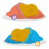 Cartoon, sleeping fat cat Royalty Free Stock Image