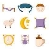 Cartoon sleeping icons. Set of cute cartoon icons on sleep theme. Vector insomnia concept. Cartoon sleeping objects: bed, lune, sheep, pillow, owl, sleeping mask Stock Image